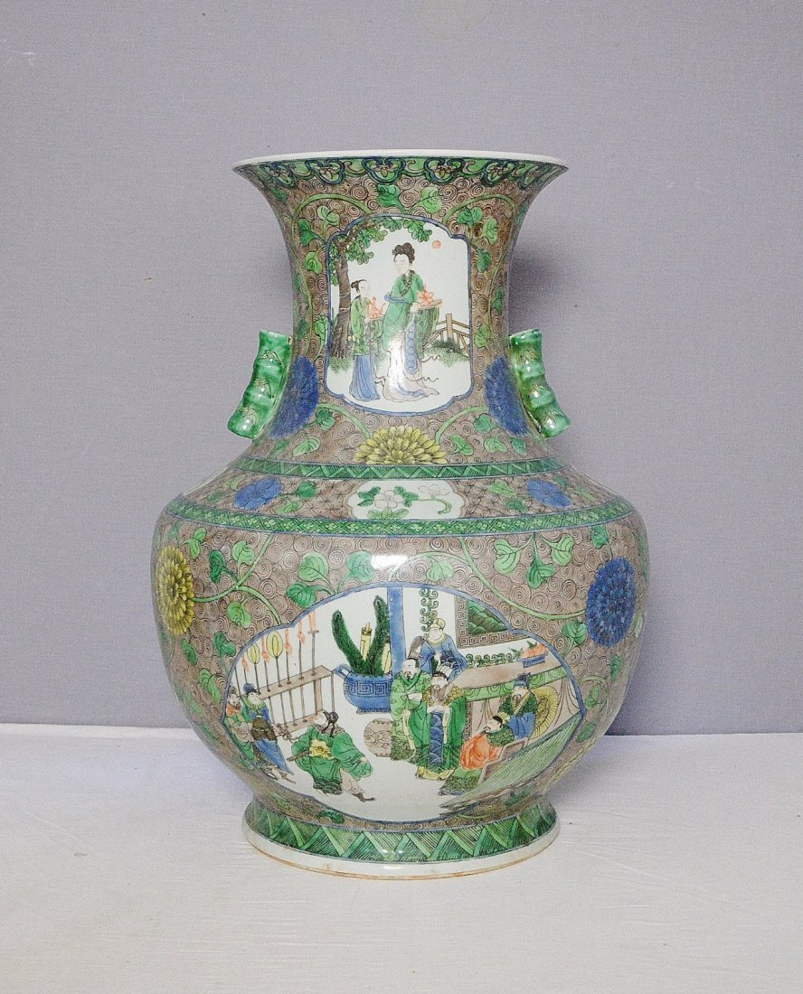 Large Chinese Wu-Cai Porcelain Vase With Mark