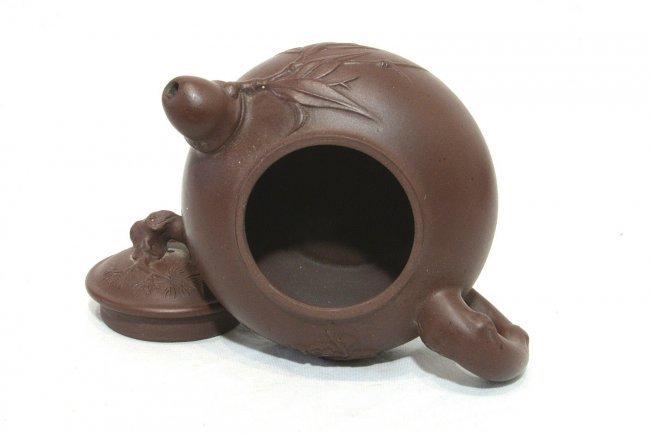 Chinese Ceramic Teapot With Studio Mark - 6
