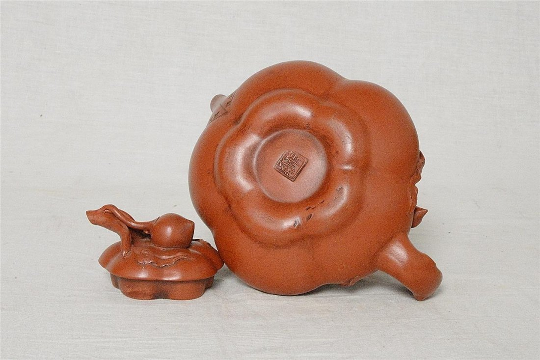 Chinese Ceramic Teapot With Studio Mark - 4
