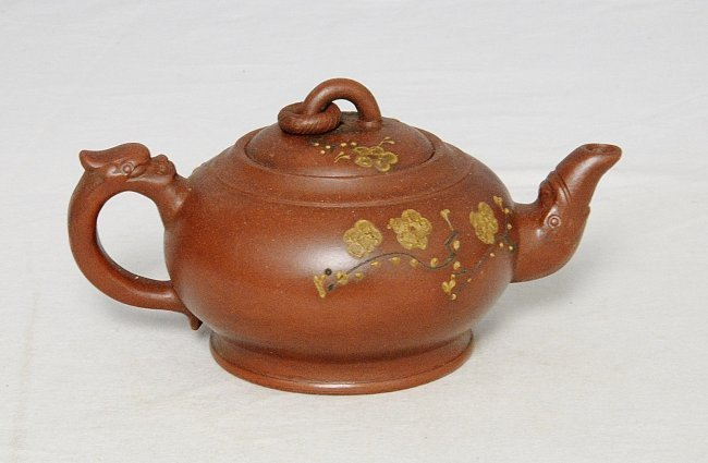 Chinese Ceramic Teapot With Studio Mark - 2