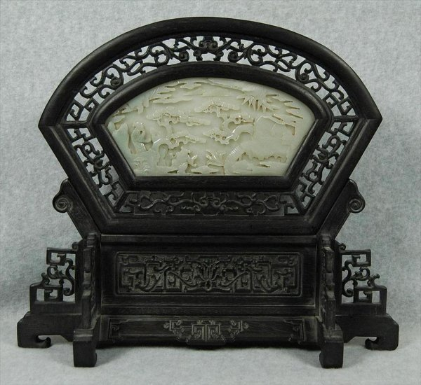 431: Nice Carved White Jade Insert Table Screen