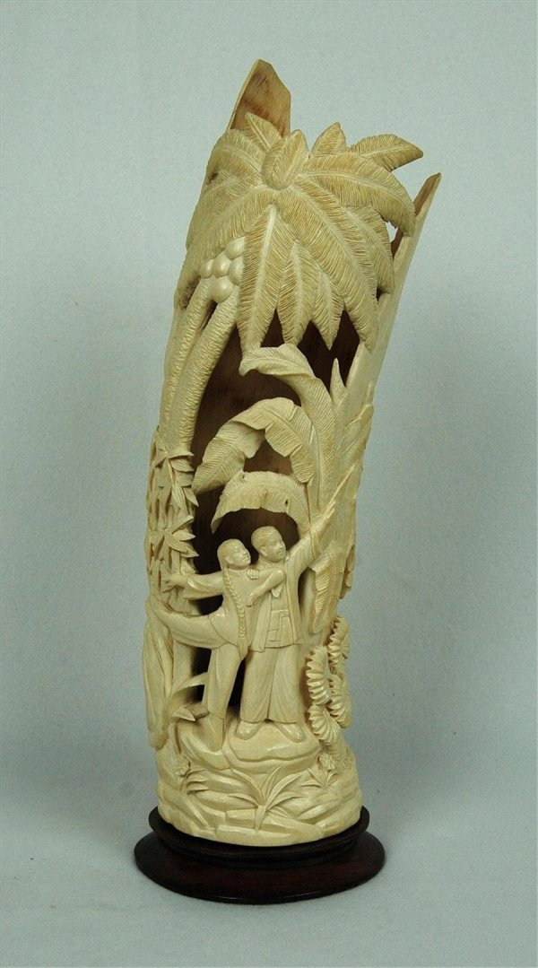 2087: Large  Chinese  Ivory  Carving