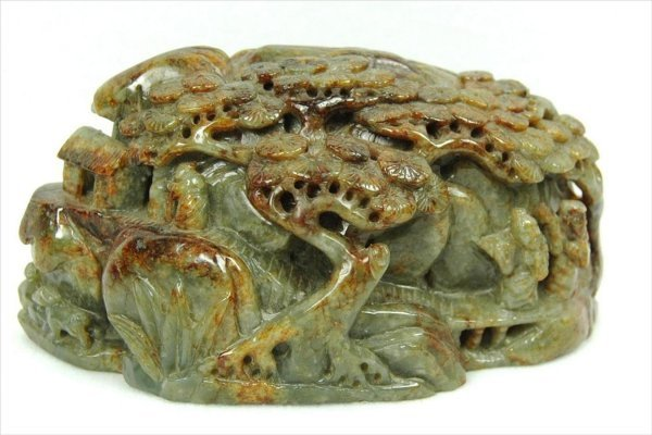 3017: Chinese Green Nephrite Carved Boulder