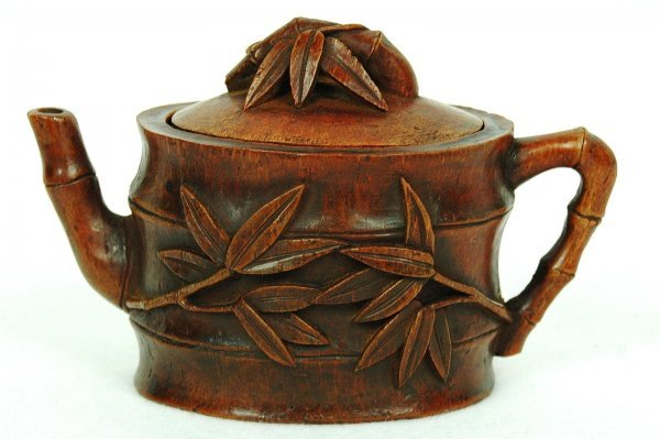 4003: Nice  Carved  Bamboo  Teapot