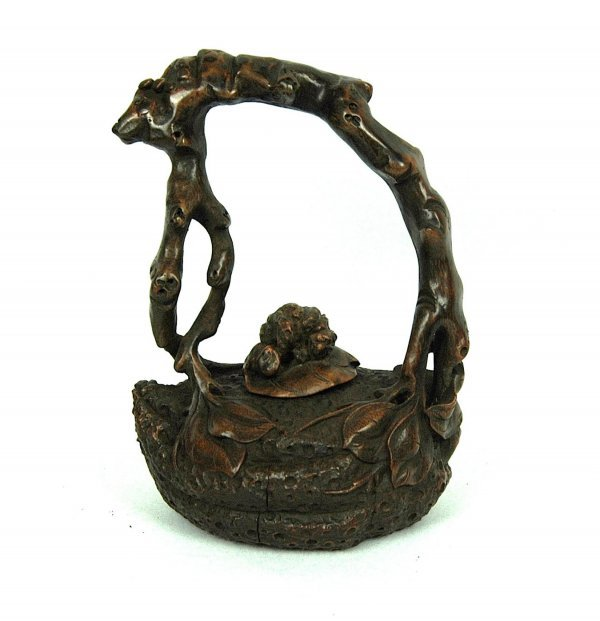 4004: Nice  Carved  Bamboo  Teapot