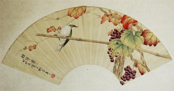4020: Chinese  Decorative  Fan  Shape  Painting