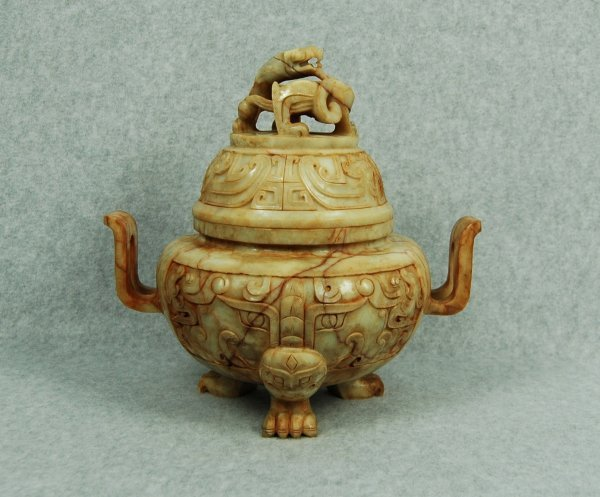 4136: NICE  CARVED  CHINESE  ANTIQUES  JADE  CENSER