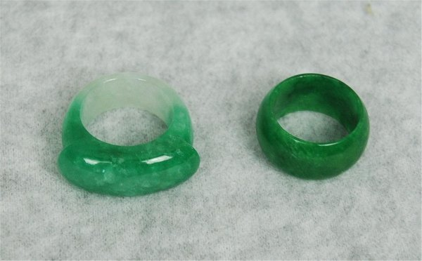 2521: Two  Chinese  Green  Jadeite  Rings