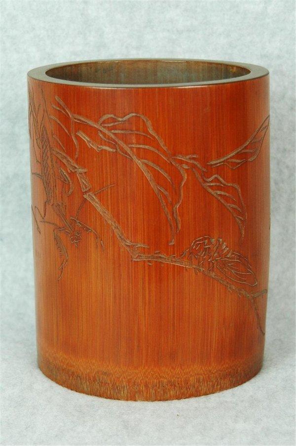 6002: Chinese  Bamboo  Brush  Holder