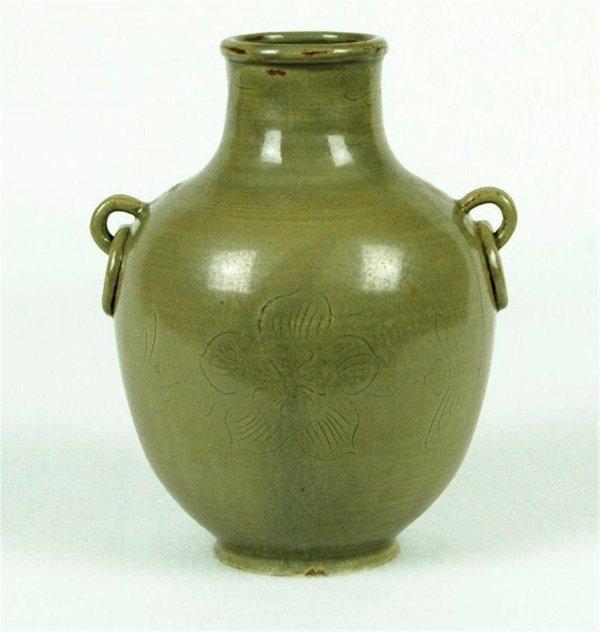 6009: Chinese  Celadon  Ceramic  Wine  Bottle