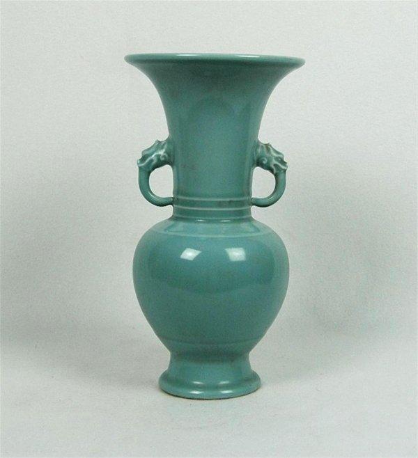 6024: Chinese  Celadon  Glazed  Porcelain  Beaker Vase