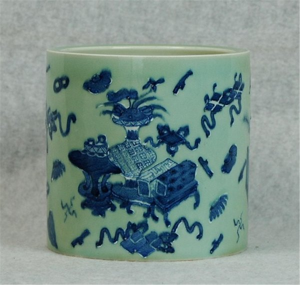 7011: Chinese  Celadon  Porcelain  Brush  Holder