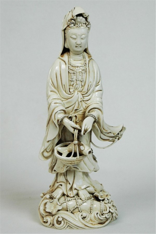 7019: Chinese  White  Porcelain  Quan-Ying  Figure