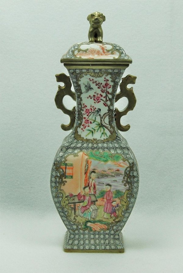 7114: Chinese export famille-rose vase and cover
