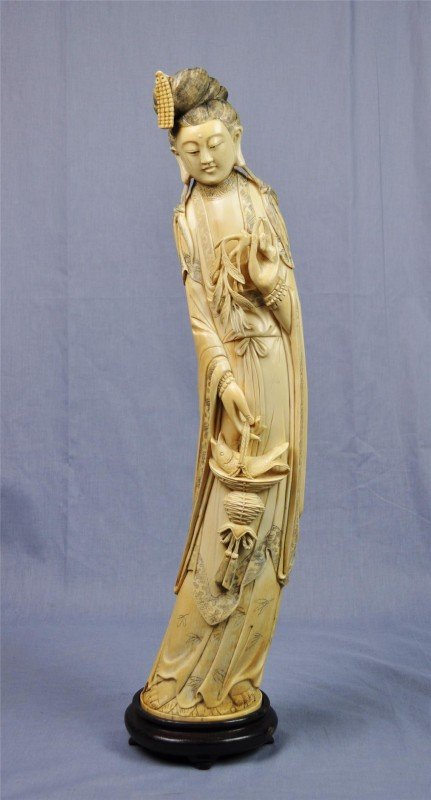 1164: Chinese tinted ivory figural carving