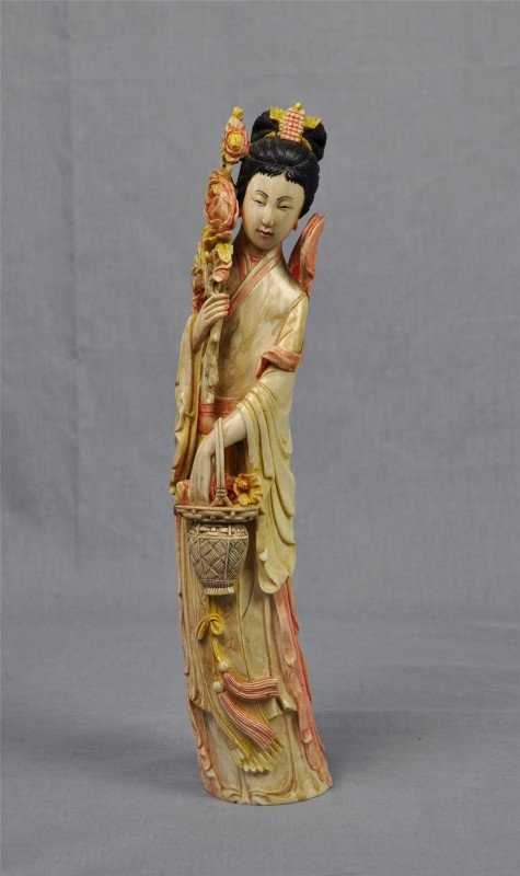 1166: Chinese polychrome tinted ivory figure of a beaut