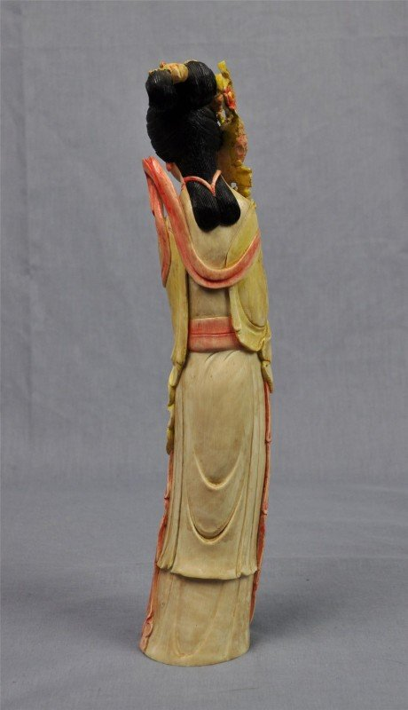 1166: Chinese polychrome tinted ivory figure of a beaut - 2