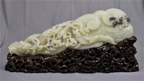 1190: Chinese massive white jade scholar's table orname