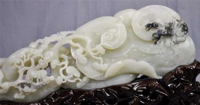 1190: Chinese massive white jade scholar's table orname - 2