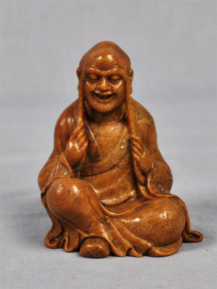 1335: Carved  Chinese  Yellow  Shou-Shan  Stone  Louhan