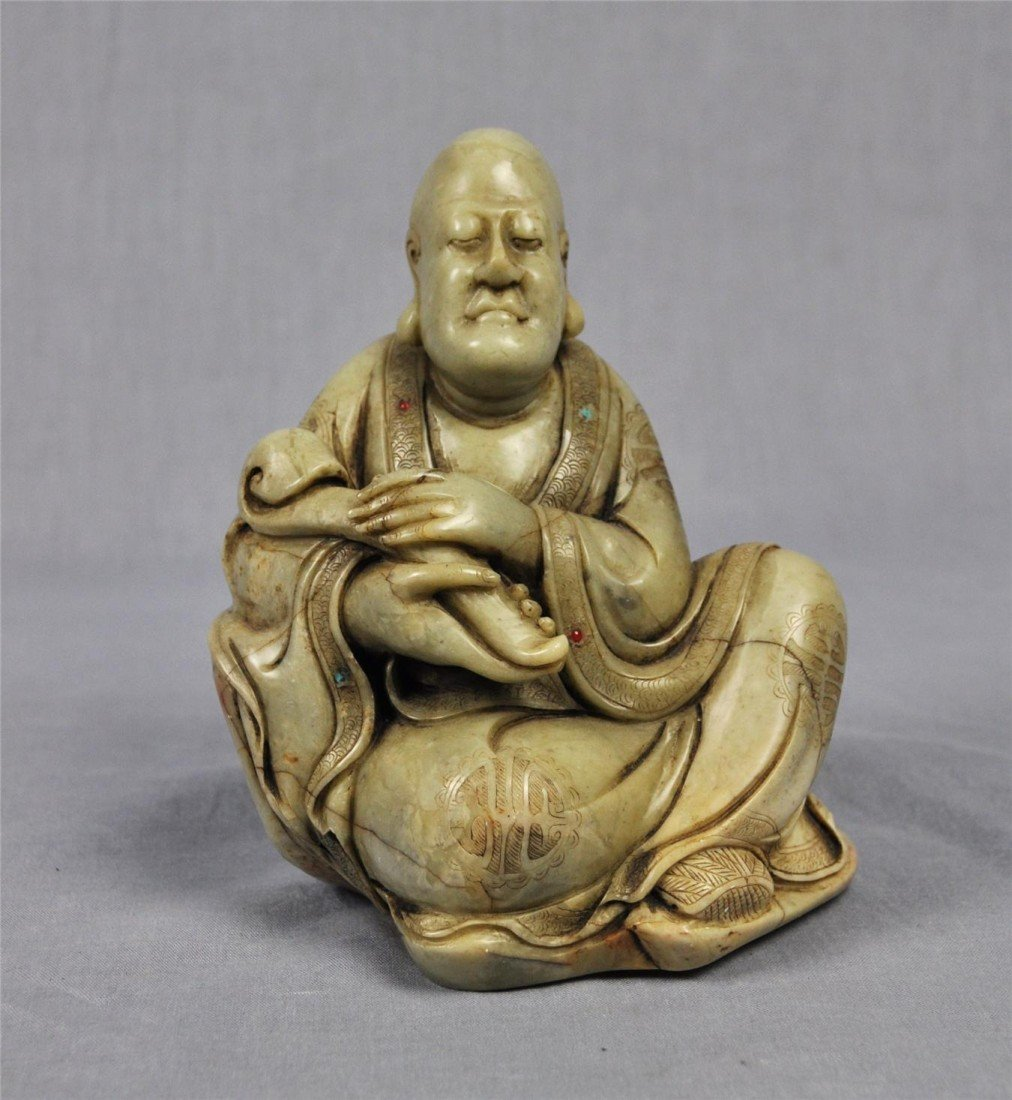 1337: Carved  Chinese  White  Shou-Shan  Stone  Louhan