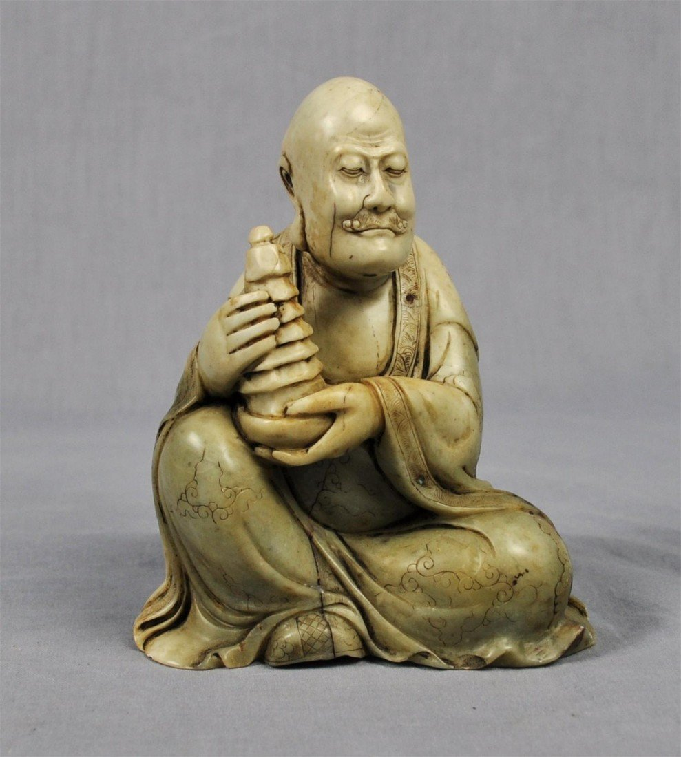 1340: Carved  Chinese  White  Shou-Shan  Stone  Louhan