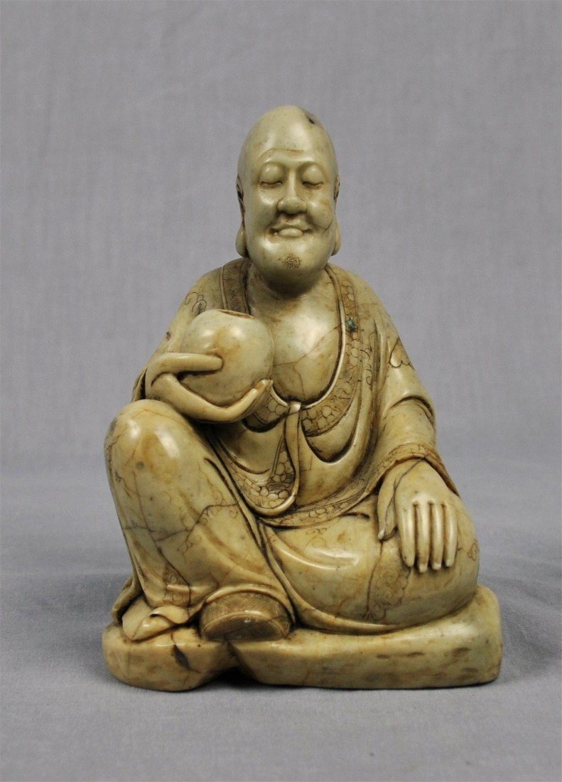 1341: Carved  Chinese  White  Shou-Shan  Stone  Louhan