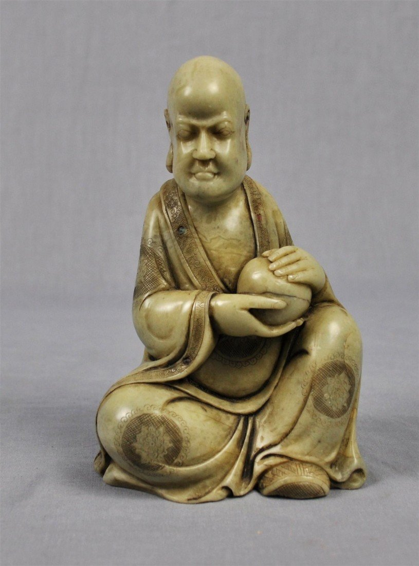 1342: Carved  Chinese  White  Shou-Shan  Stone  Louhan