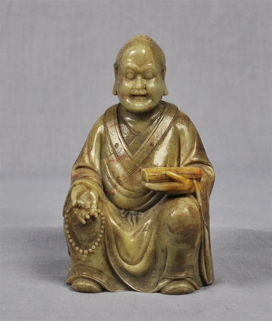 1343: Carved  Chinese  White  Shou-Shan  Stone  Louhan