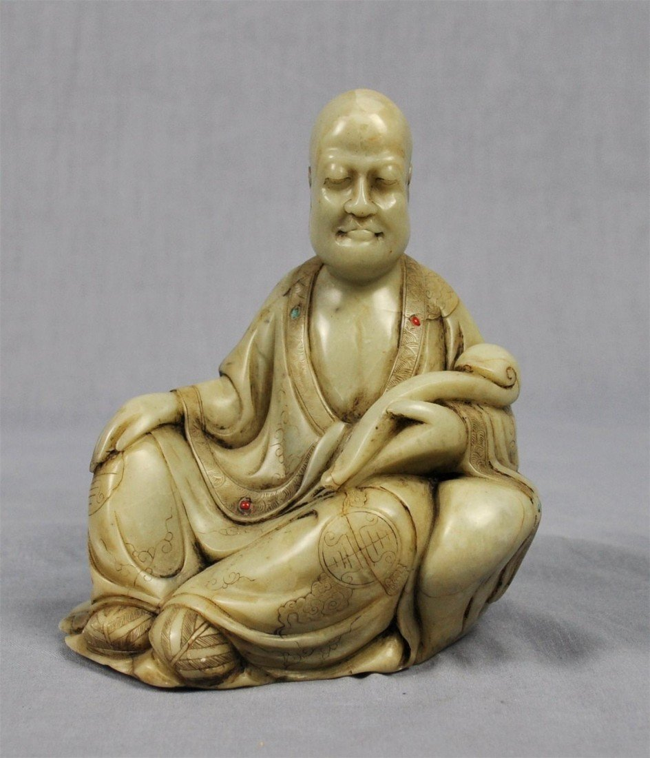 1345: Carved  Chinese  White  Shou-Shan  Stone  Louhan