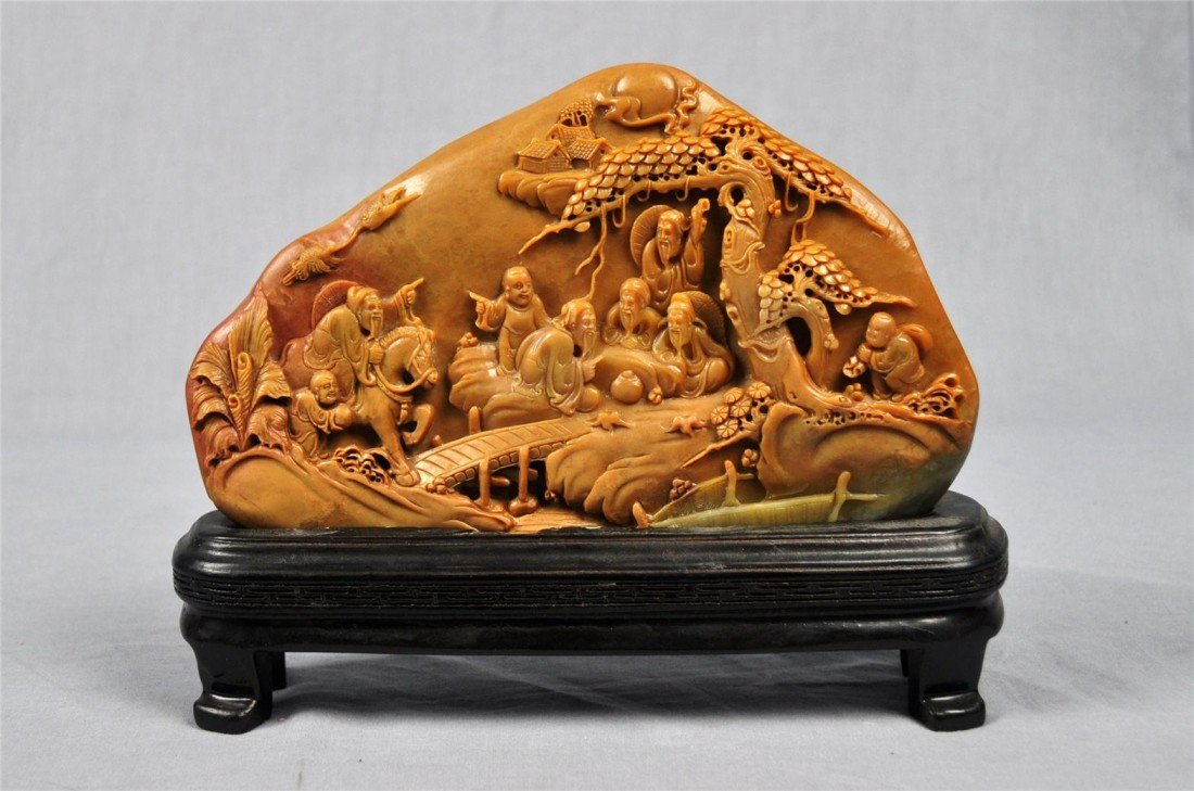 1350: Nice  Carved  Chinese  Shou-Shan  Stone  Plaque