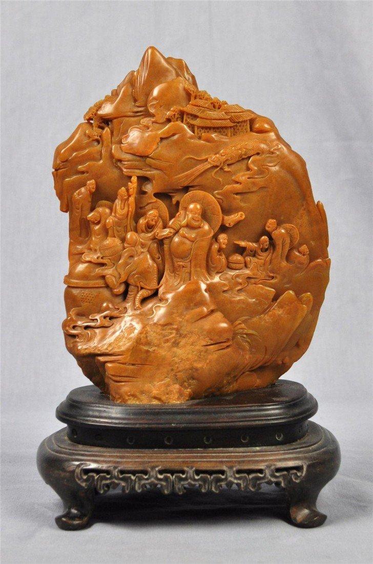 1352: Large  Chinese  Shou-Shan  Stone  Boulder