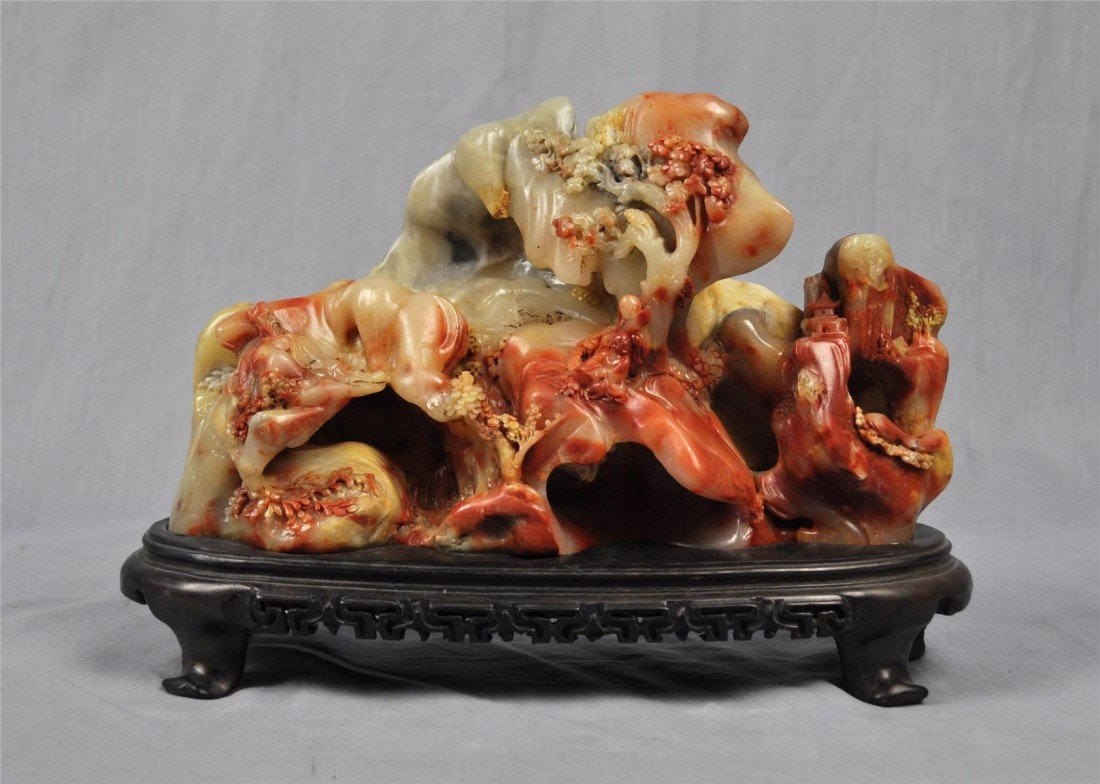 1353: Nice  Carved  Chinese  Fu-Rong  Stone  Boulder