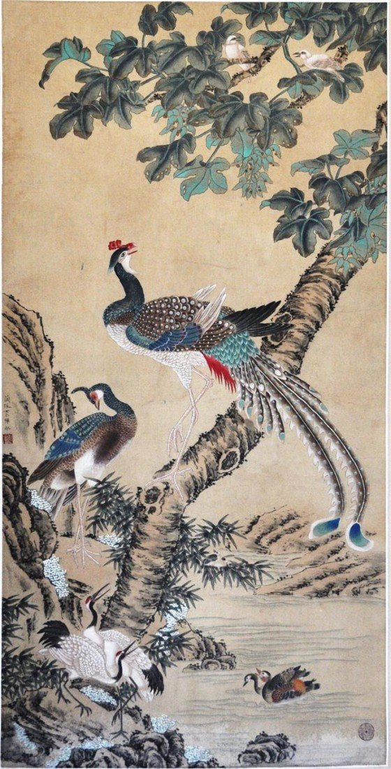 1528: Chinese  Water  On  Paper  Scroll  Painting