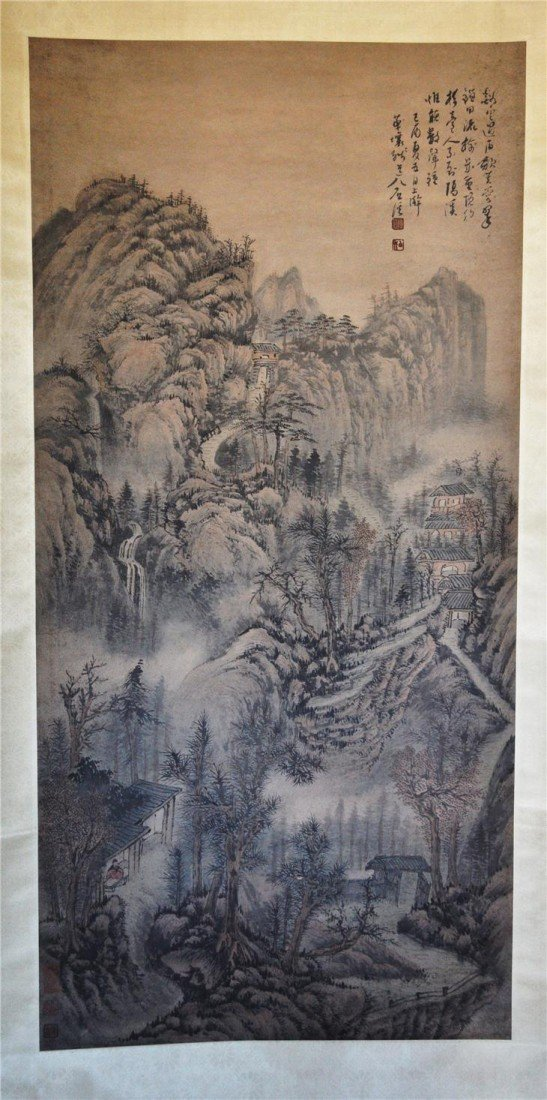 1536: Chinese  Water  On  Paper  Scroll  Painting
