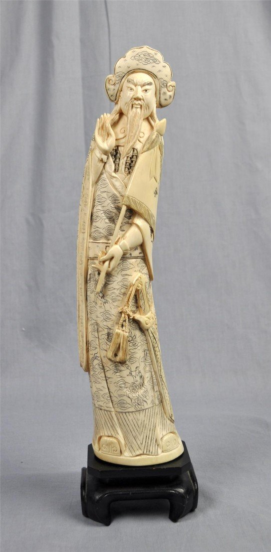 1878: Nice  Carved  Chinese  Ivory  Figure  Of  Warrior