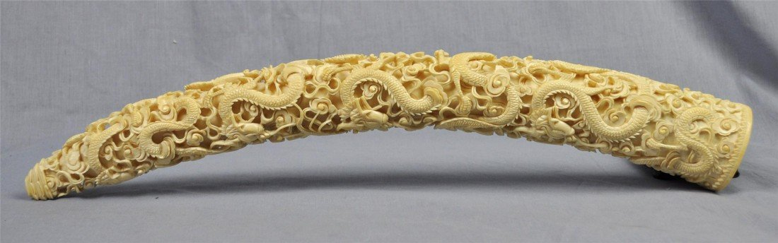 1880: Nice  Carved  Ivory  Tusk
