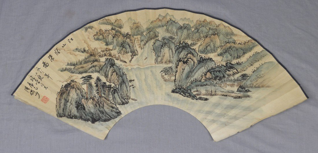 1909: Chinese  Water  On  Paper  Fan  Painting