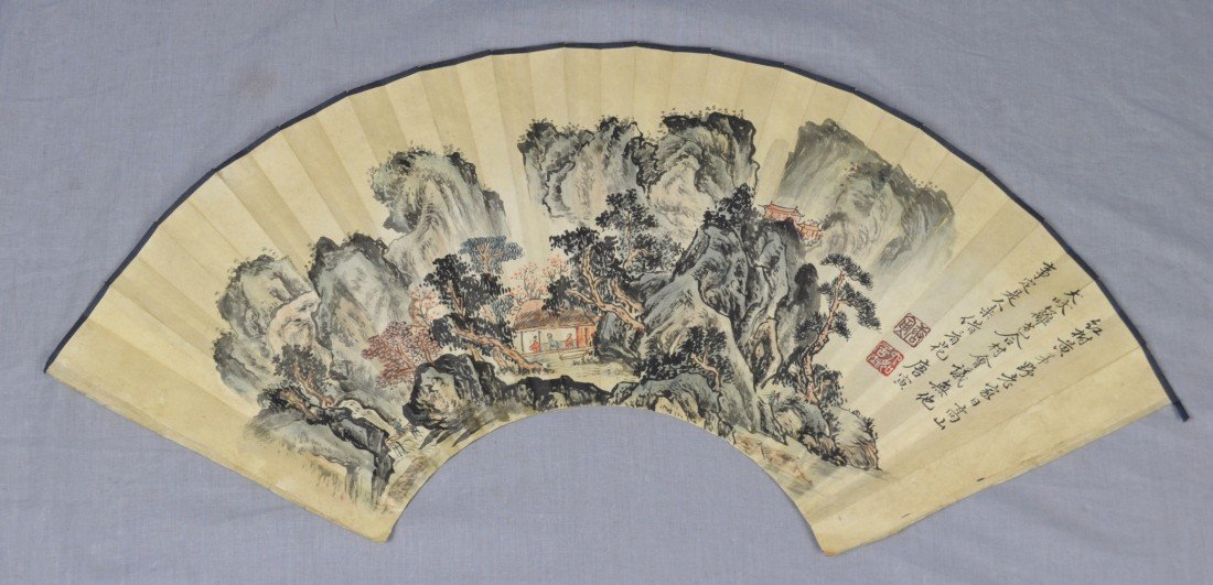 1911: Chinese  Water  On  Paper  Fan  Painting
