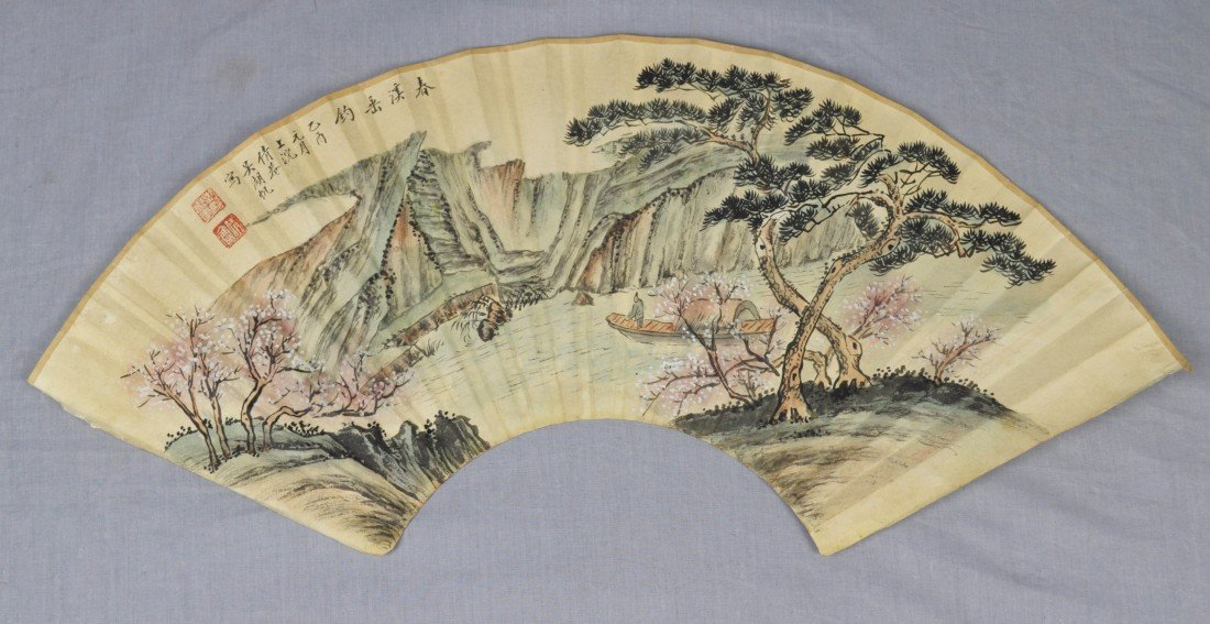 1914: Chinese  Water  On  Paper  Fan  Painting