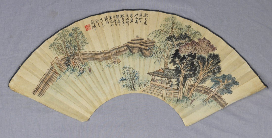 1915: Chinese  Water  On  Paper  Fan  Painting