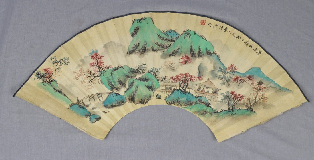 1917: Chinese  Water  On  Paper  Fan  Painting