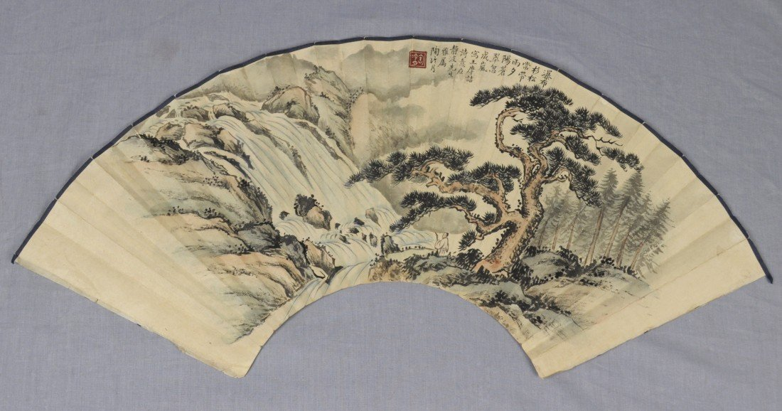 1922: Chinese  Water  On  Paper  Fan  Painting
