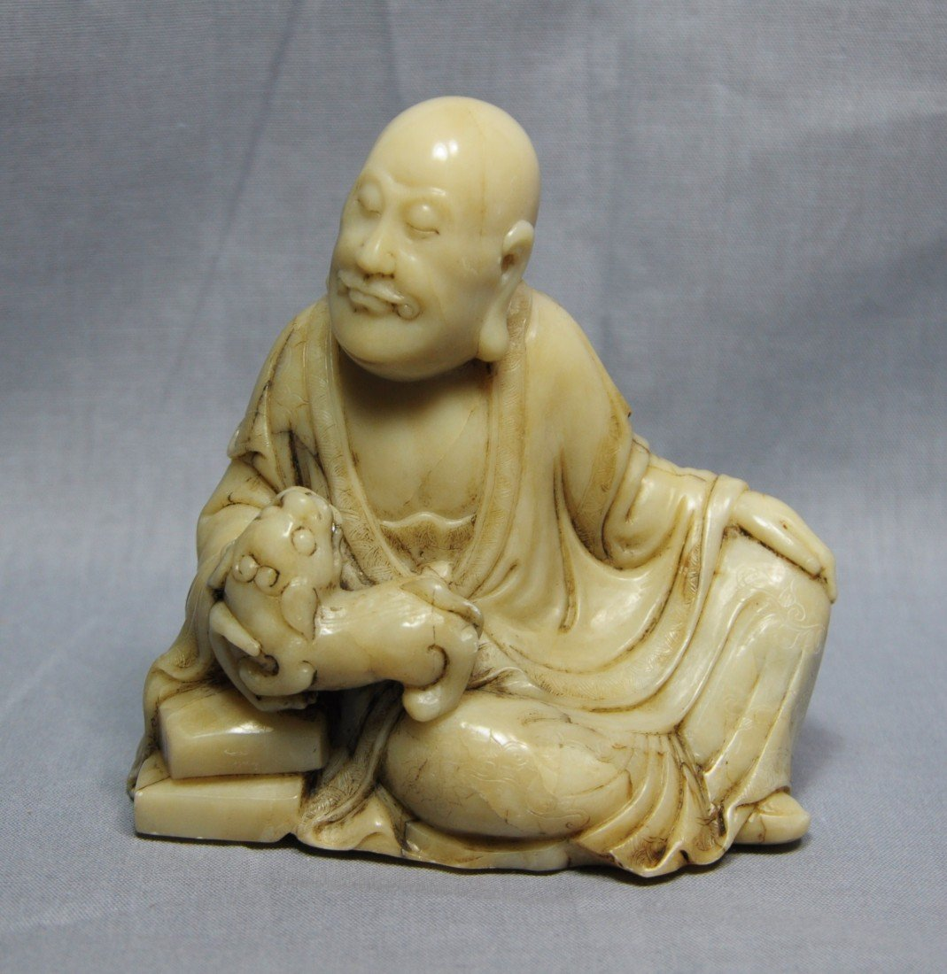 2154: Nice Carved Chinese Shou-Shan Stone Louhan Figure