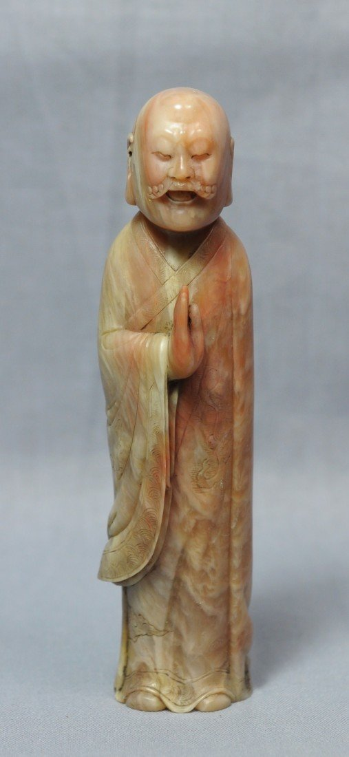 2156: Nice Carved Chinese Shou-Shan Stone Louhan Figure