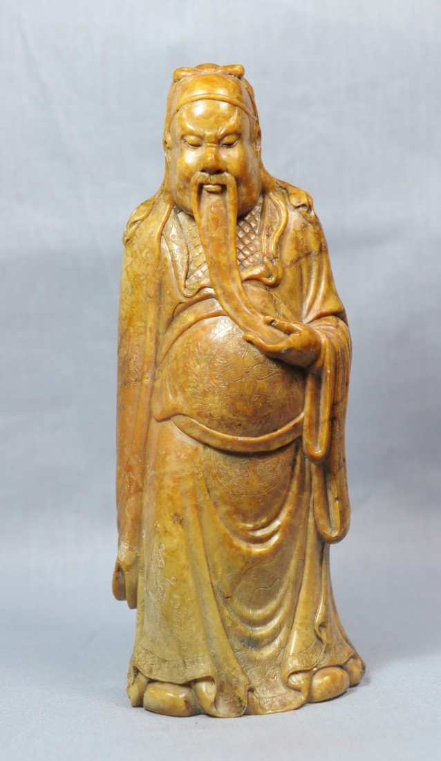 2158: Well  Carved  Chinese  Shou-Shan  Stone  figure