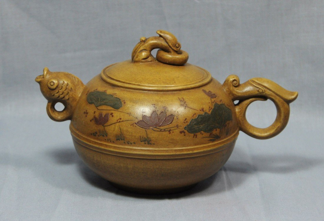 2168: Chinese  Ceramic  Teapot  with  mark