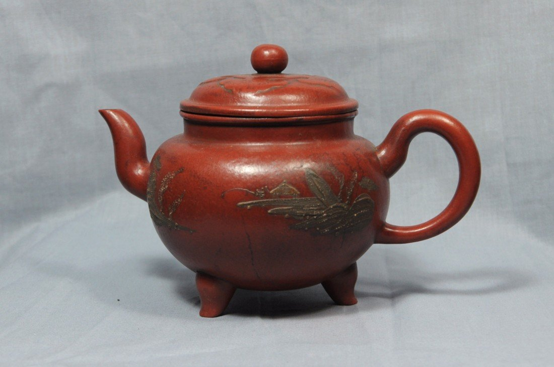 2171: Chinese  Tripod  Ceramic  Teapot  with  mark