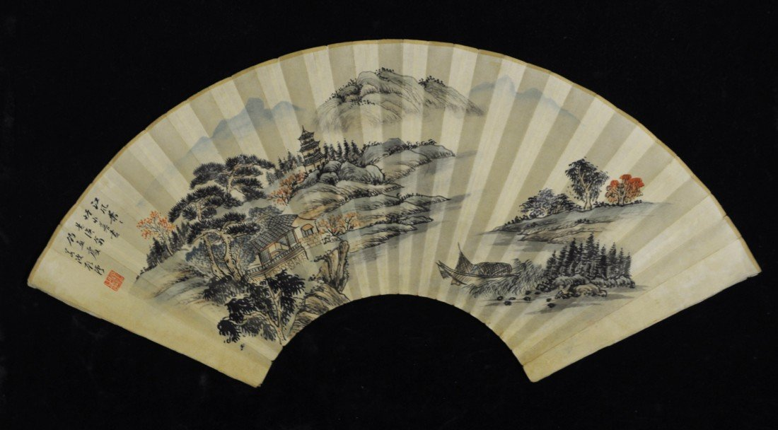 2187: Chinese Water on Paper Fan Painting