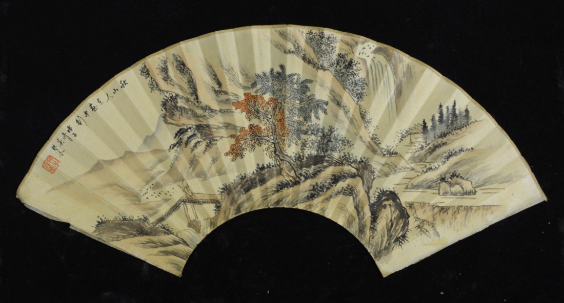 2190: Chinese Water on Paper Fan Painting
